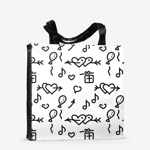 Сумка-шоппер «Сердечки, шарики, подарки,»