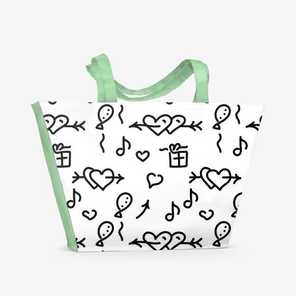 Пляжная сумка «Сердечки, шарики, подарки,»