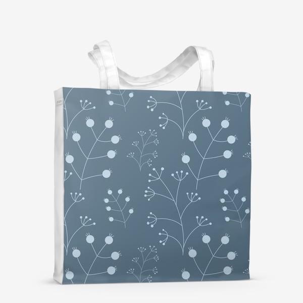 Сумка-шоппер «Ягоды - веточки на синем»