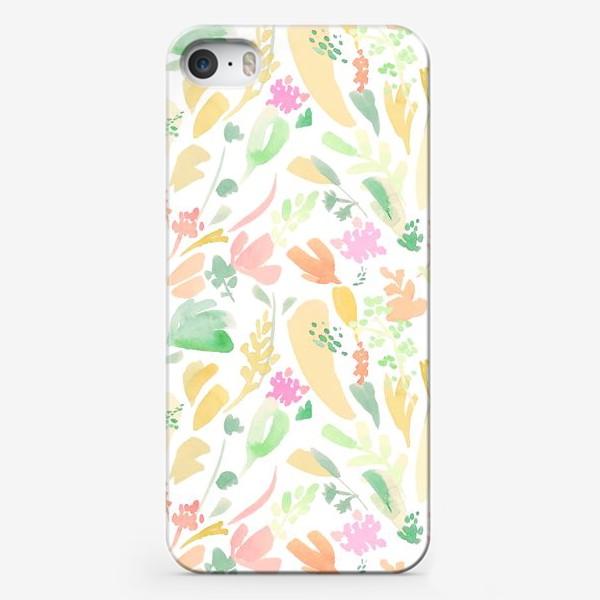 Чехол iPhone «Цветочный акварельный паттерн в оранжевых тонах»