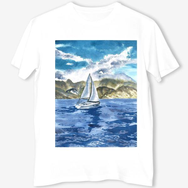Футболка «Пейзаж: Яхта у горных берегов»