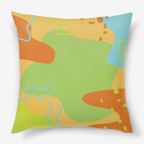 Подушка «Абстракция. Оранжевый, зеленый, голубой.»