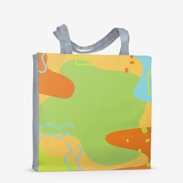 Сумка-шоппер «Абстракция. Оранжевый, зеленый, голубой.»