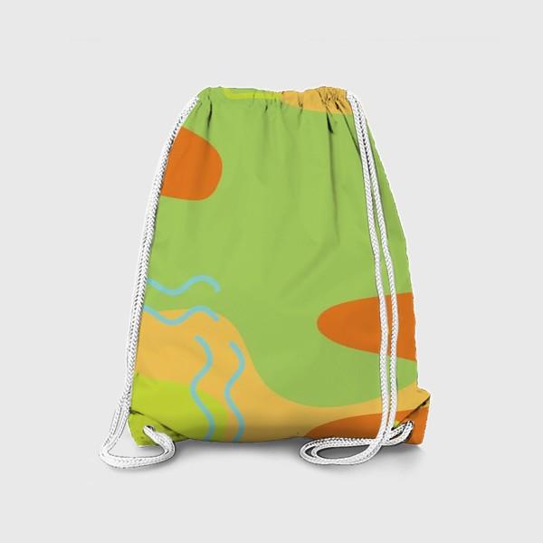 Рюкзак «Абстракция. Оранжевый, зеленый, голубой.»