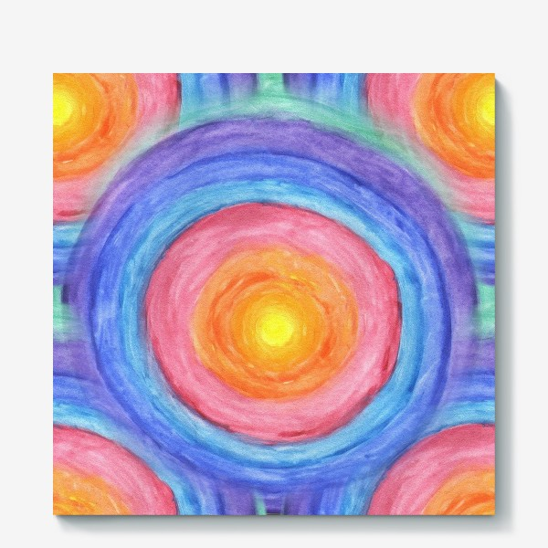 Холст «Акварельная геометрическая абстракция солнечный круг»