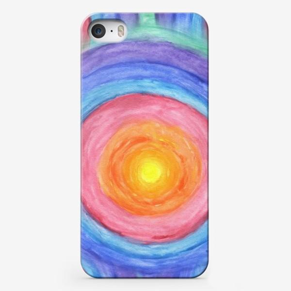 Чехол iPhone «Акварельная геометрическая абстракция солнечный круг»