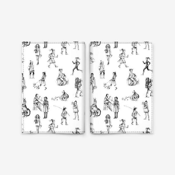 Обложка для паспорта «графический паттерн с девушками»
