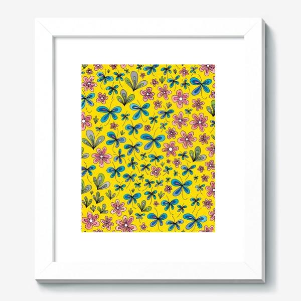 Картина «Цветы и бабочки»
