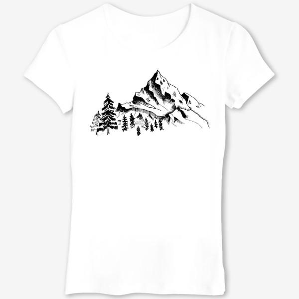Футболка «Горы. Чёрно-белый скетч»