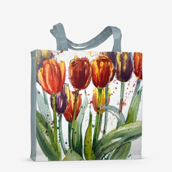 Сумка-шоппер «Тюльпаны акварелью»