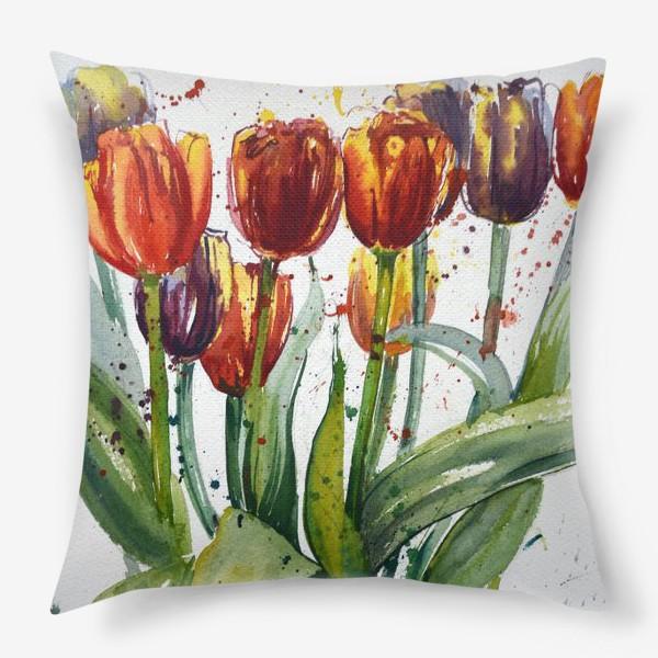 Подушка «Тюльпаны акварелью»