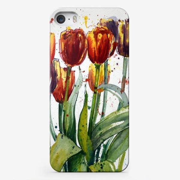 Чехол iPhone «Тюльпаны акварелью»