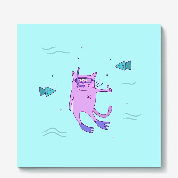 Холст «Кот Рыба»