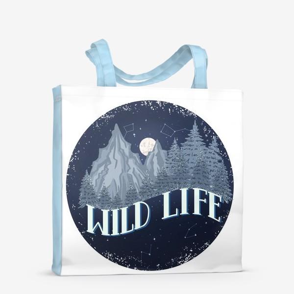 Сумка-шоппер «wild life. мужской принт. природа и горы»
