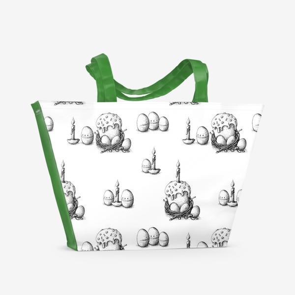 Пляжная сумка «Пасхальный паттерн с куличами»