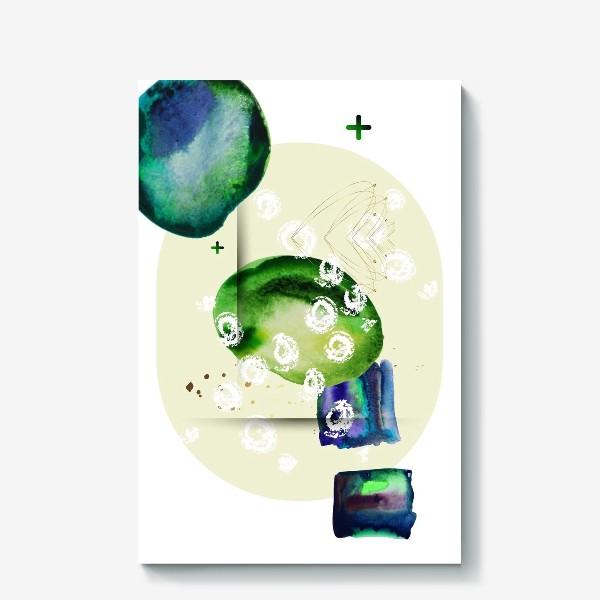 Холст «Акварельный абстрактный геометрический фон с золотыми элементами»