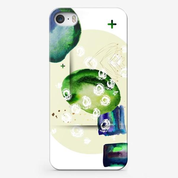 Чехол iPhone «Акварельный абстрактный геометрический фон с золотыми элементами»