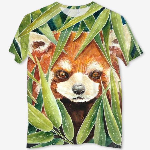 Футболка с полной запечаткой «Красная Панда в листьях бамбука»