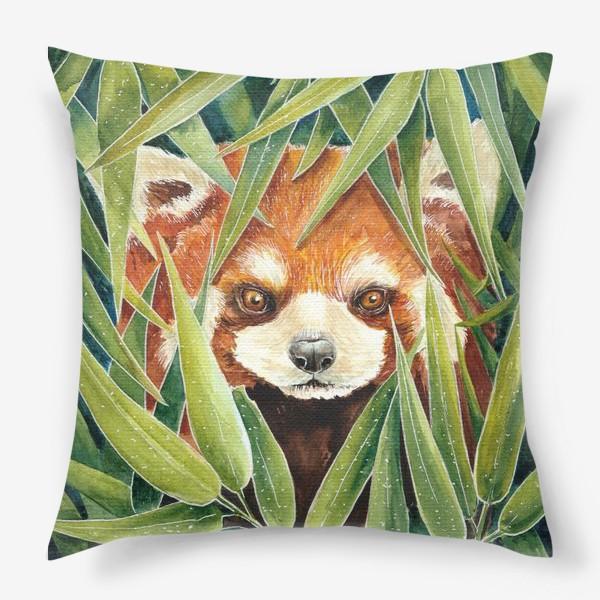 Подушка «Красная Панда в листьях бамбука»
