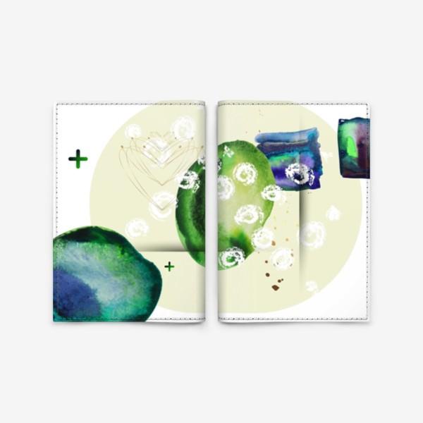 Обложка для паспорта «Акварельный абстрактный геометрический фон с золотыми элементами»