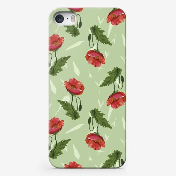 Чехол iPhone «Красные маки на светло-зеленом травяном фоне.»