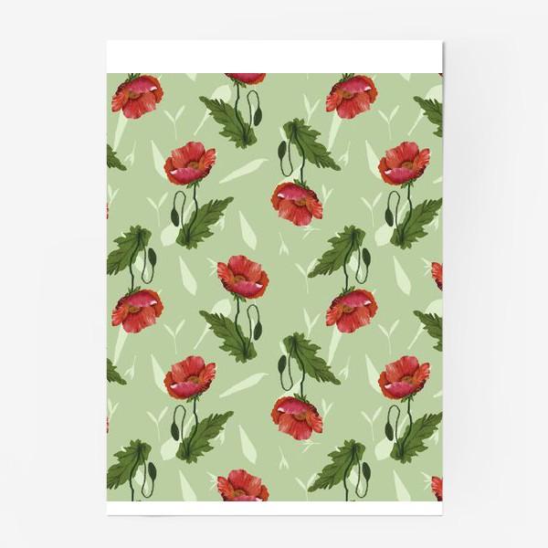 Постер «Красные маки на светло-зеленом травяном фоне.»