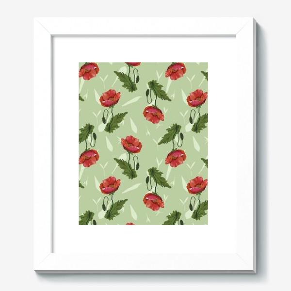 Картина «Красные маки на светло-зеленом травяном фоне.»