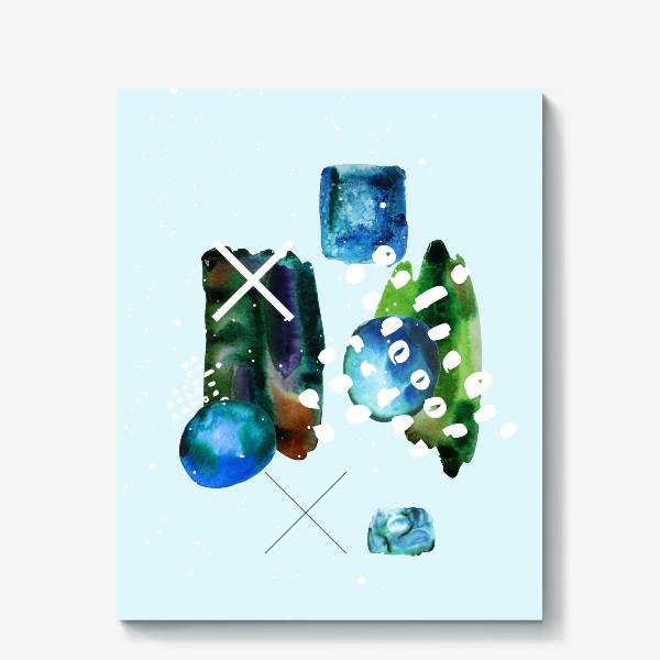 Холст «Коллаж с акварельными абстрактными фэлементами»