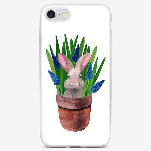 Чехол iPhone «Милый кролик в горшке с весенними мускари»