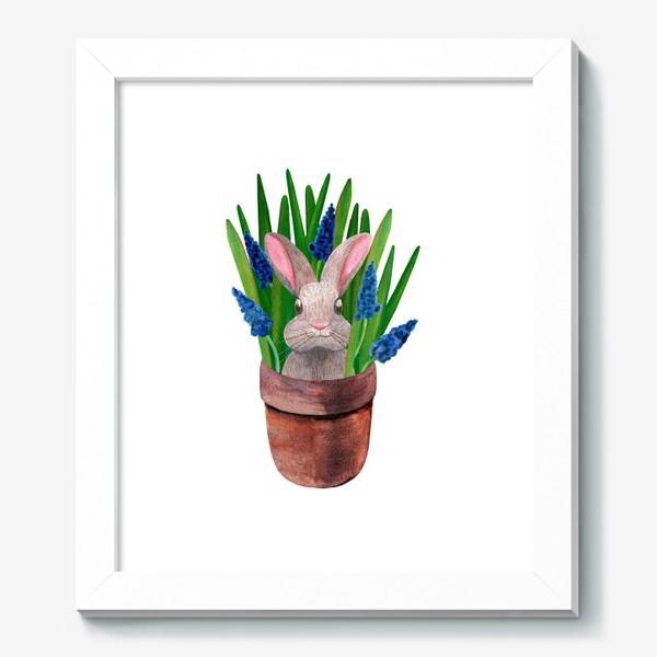 Картина «Милый кролик в горшке с весенними мускари»
