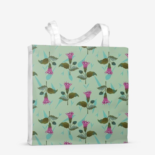 Сумка-шоппер «Цветы дурмана на светло-голубом травяном фоне»