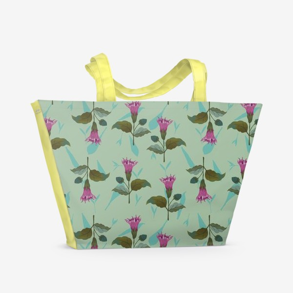 Пляжная сумка «Цветы дурмана на светло-голубом травяном фоне»