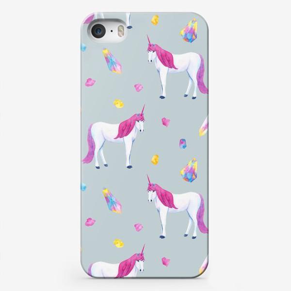 Чехол iPhone «Единорог и волшебные кристаллы. Акварельный сказочный детский летний принт на голубом фоне»