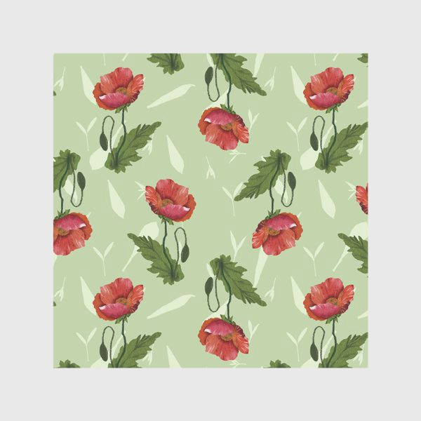 Скатерть «Красные маки на светло-зеленом травяном фоне.»