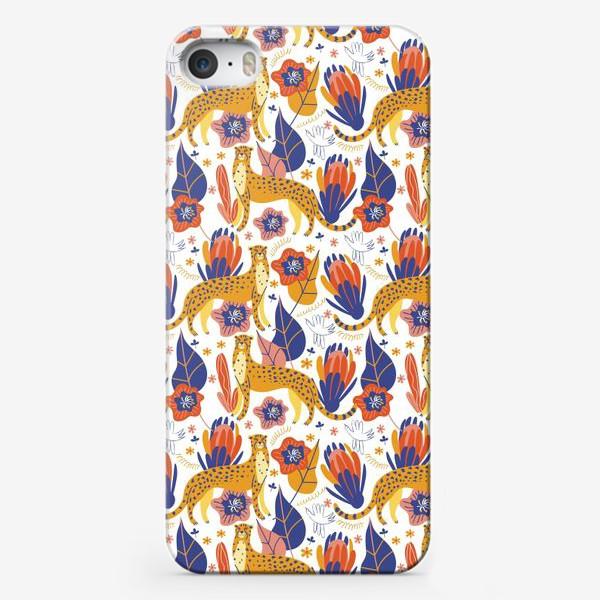 Чехол iPhone «Гепарды среди тропических растений»