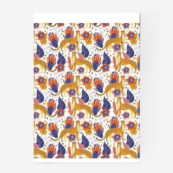Постер «Гепарды среди тропических растений»