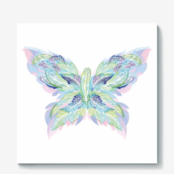 Холст «Бабочка из перьев»