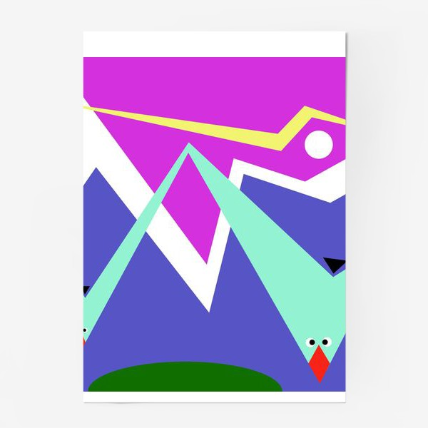 Постер «Абстракция Чайки над морем»