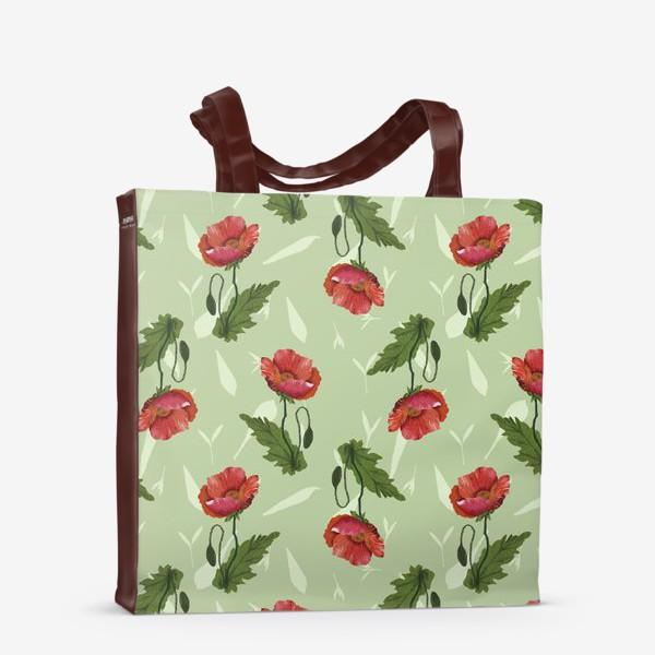 Сумка-шоппер «Красные маки на светло-зеленом травяном фоне.»