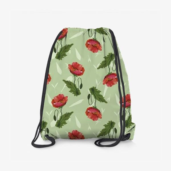 Рюкзак «Красные маки на светло-зеленом травяном фоне.»