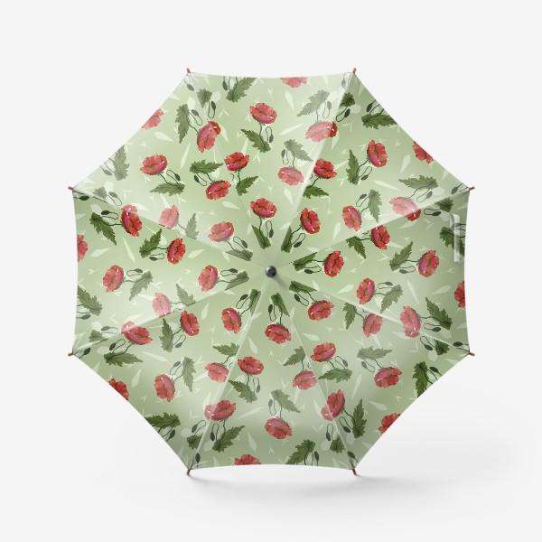 Зонт «Красные маки на светло-зеленом травяном фоне.»