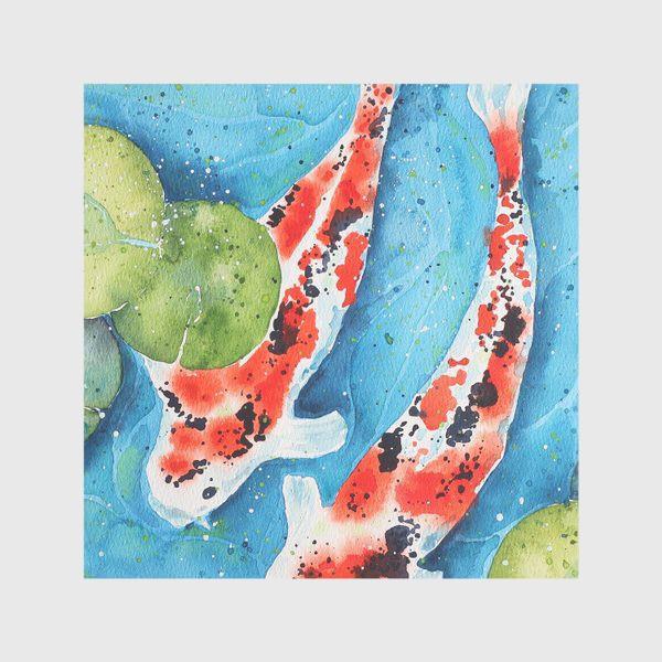Скатерть «Японские карпы Кои. Подарок рыбам.»