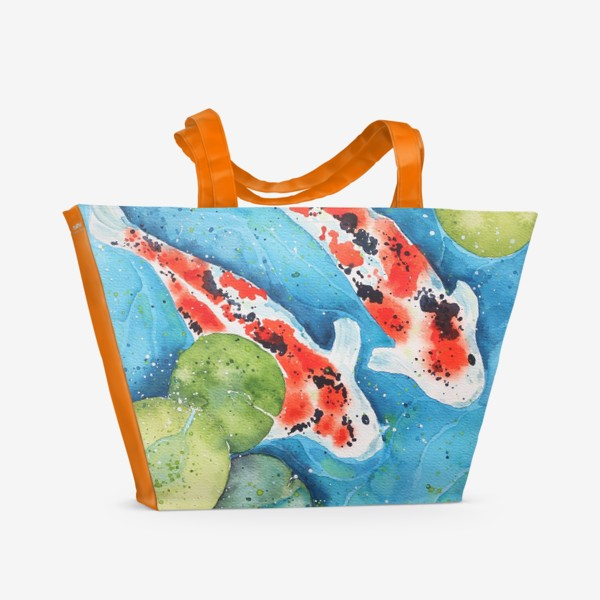 Пляжная сумка «Японские карпы Кои. Подарок рыбам.»
