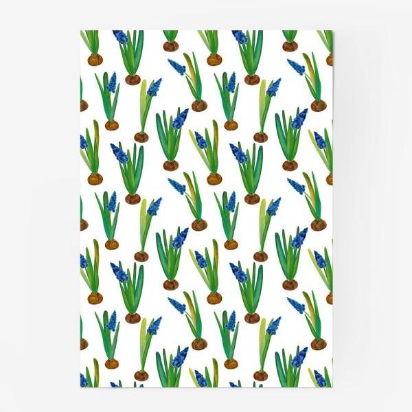 Постер «Паттерн весенние мускари с луковичками»