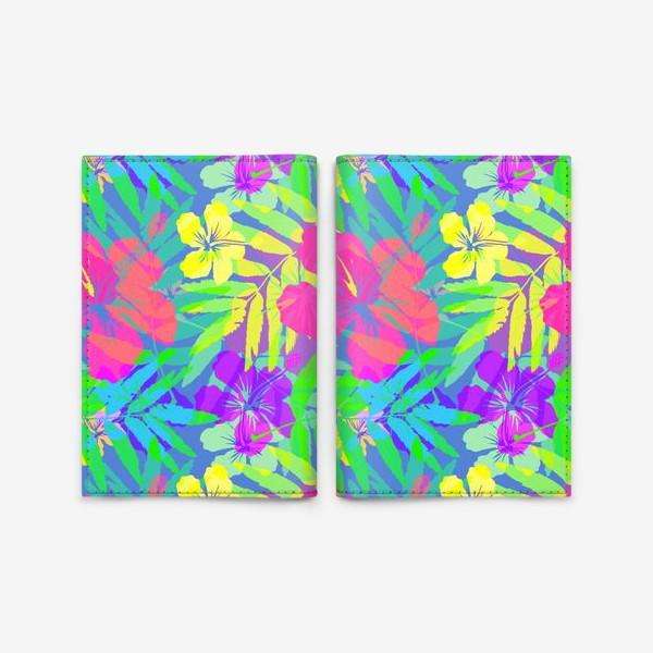 Обложка для паспорта «Тропические цветы»