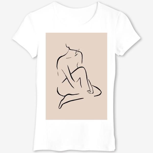 Футболка «Абстрактный женский силуэт. Линейный рисунок чернилами, графика на бежевом фоне»