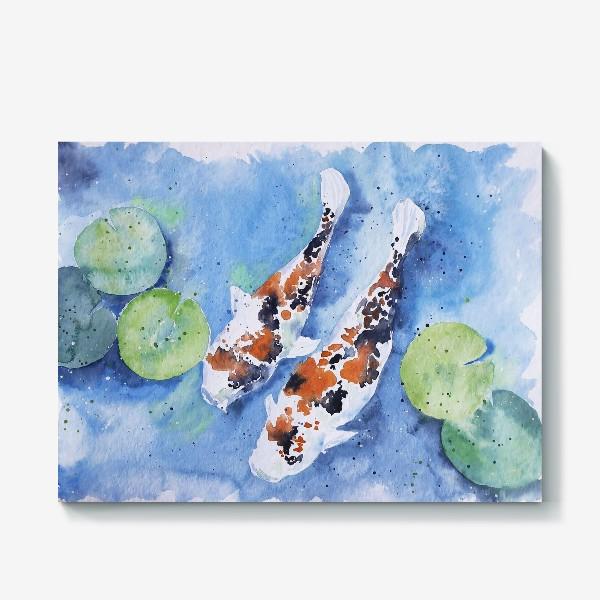 Холст «Рыбки карпы в озере»