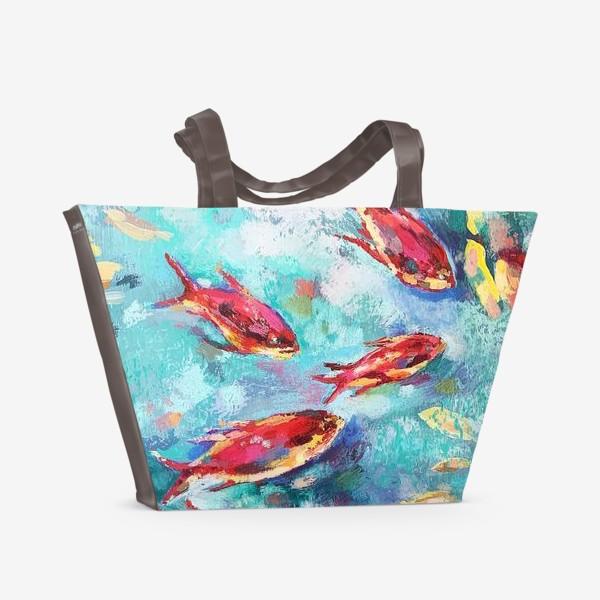 Пляжная сумка «Малиновые рыбки»