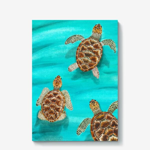 Холст «Плывущие морские черепахи»