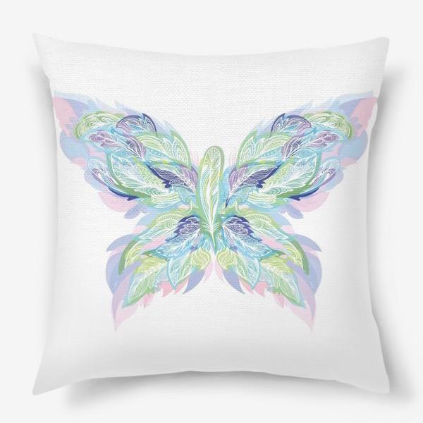 Подушка «Бабочка из перьев»
